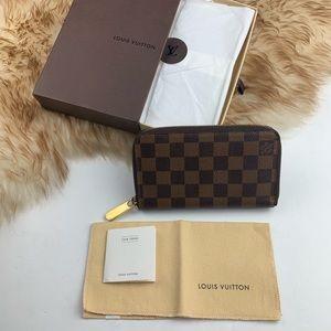 LV Louis Vuitton Compact Zippy Damier Ebene Wallet